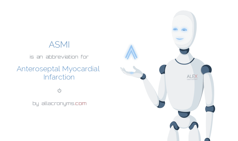 ASMI is  an  abbreviation  for Anteroseptal Myocardial Infarction