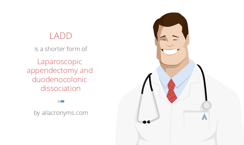 LADD is a shorter form of Laparoscopic appendectomy and duodenocolonic dissociation