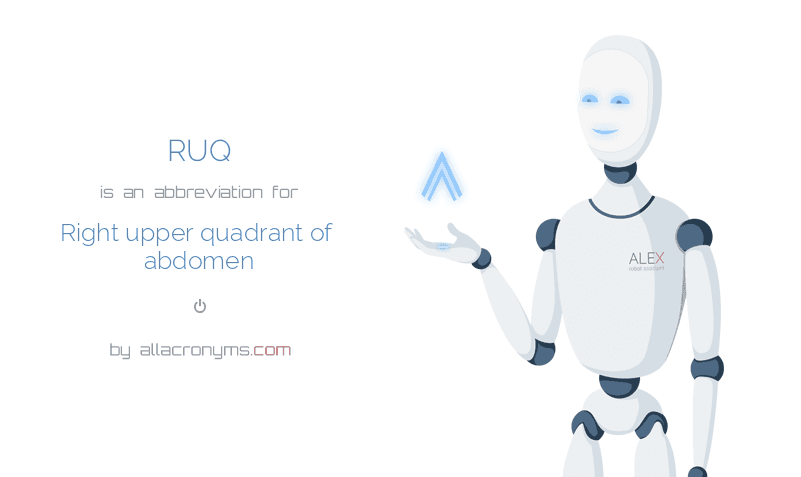 RUQ is  an  abbreviation  for Right upper quadrant of abdomen