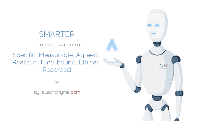 SMARTER is  an  abbreviation  for Specific, Measurable, Agreed, Realistic, Time-bound, Ethical, Recorded