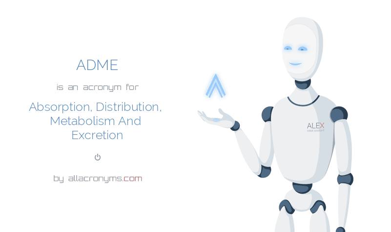 ADME is  an  acronym  for Absorption, Distribution, Metabolism And Excretion