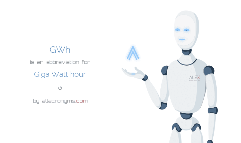 GWh is  an  abbreviation  for Giga Watt hour