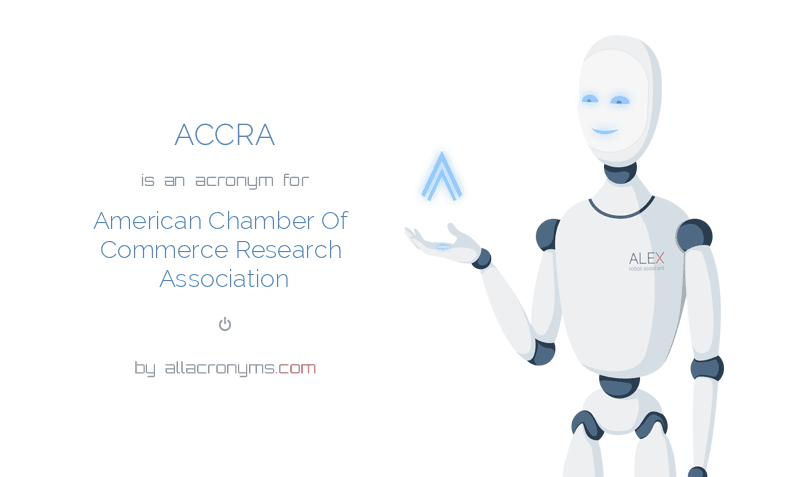 ACCRA is  an  acronym  for American Chamber Of Commerce Research Association