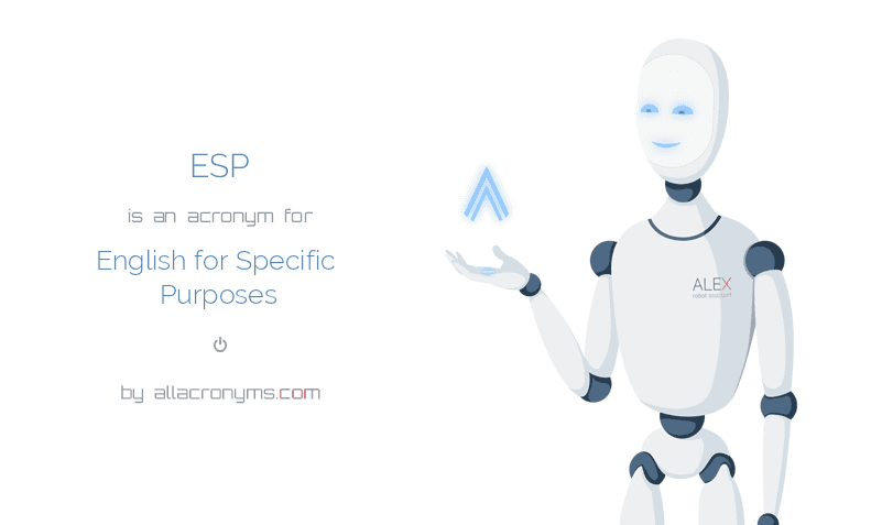 ESP is  an  acronym  for English for Specific Purposes