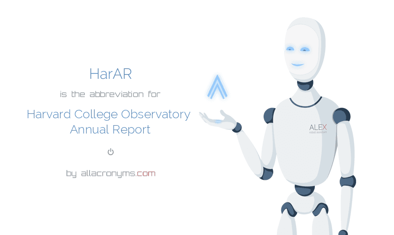 HarAR is  the  abbreviation  for Harvard College Observatory Annual Report