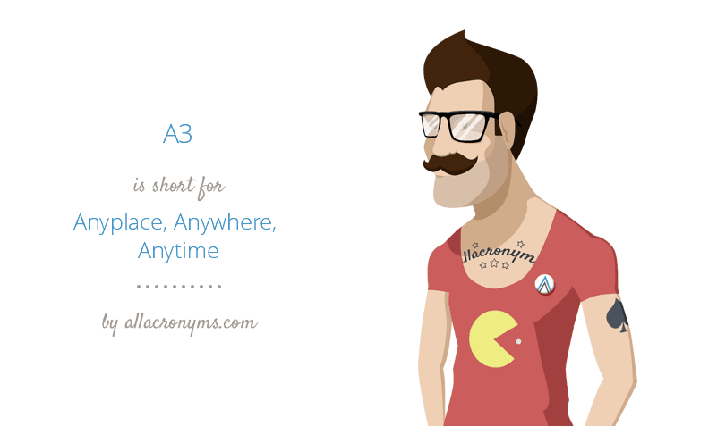 A3 is short for Anyplace, Anywhere, Anytime