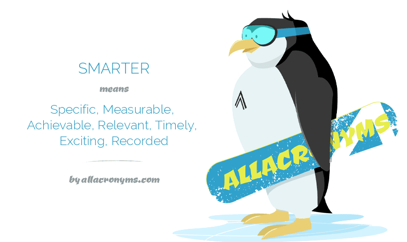SMARTER means Specific, Measurable, Achievable, Relevant, Timely, Exciting, Recorded