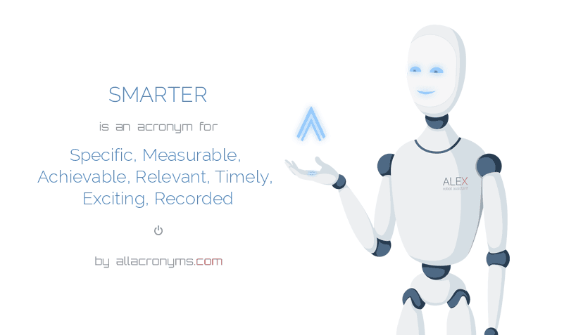 SMARTER is  an  acronym  for Specific, Measurable, Achievable, Relevant, Timely, Exciting, Recorded