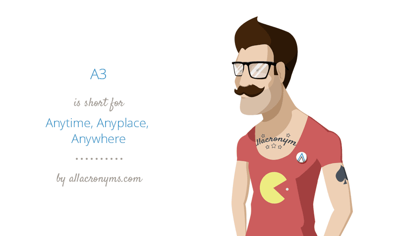 A3 is short for Anytime, Anyplace, Anywhere