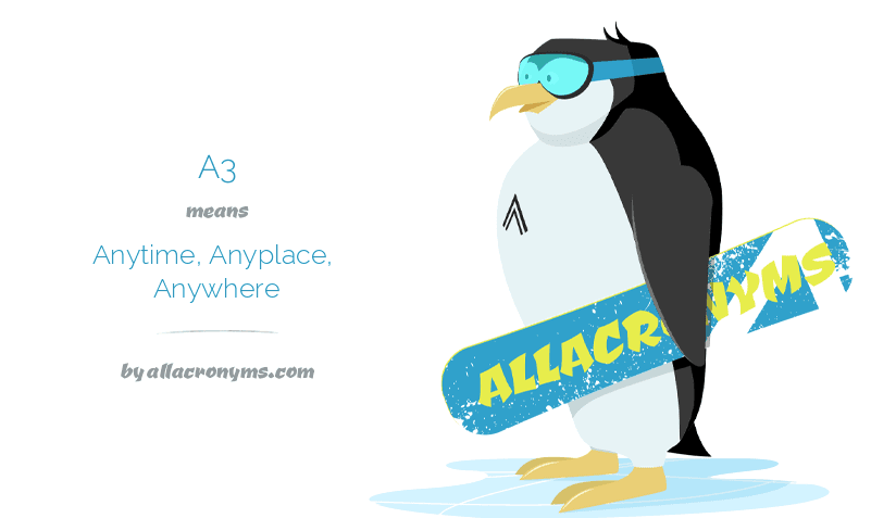 A3 means Anytime, Anyplace, Anywhere