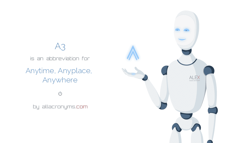 A3 is  an  abbreviation  for Anytime, Anyplace, Anywhere