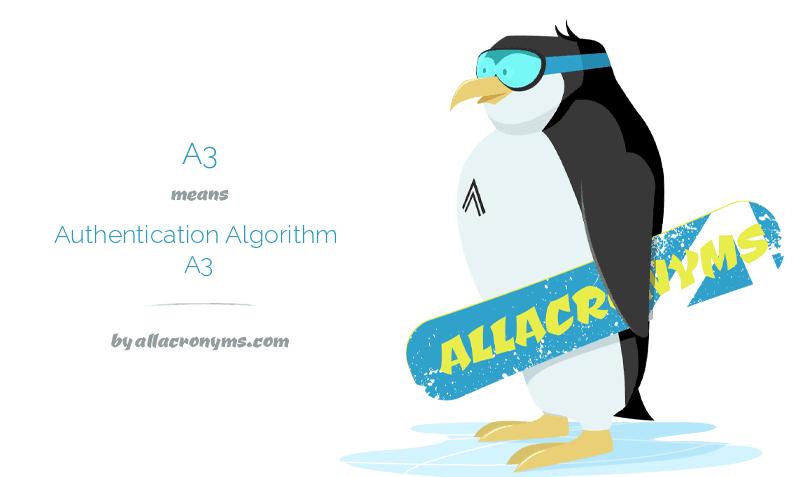 A3 means Authentication Algorithm A3