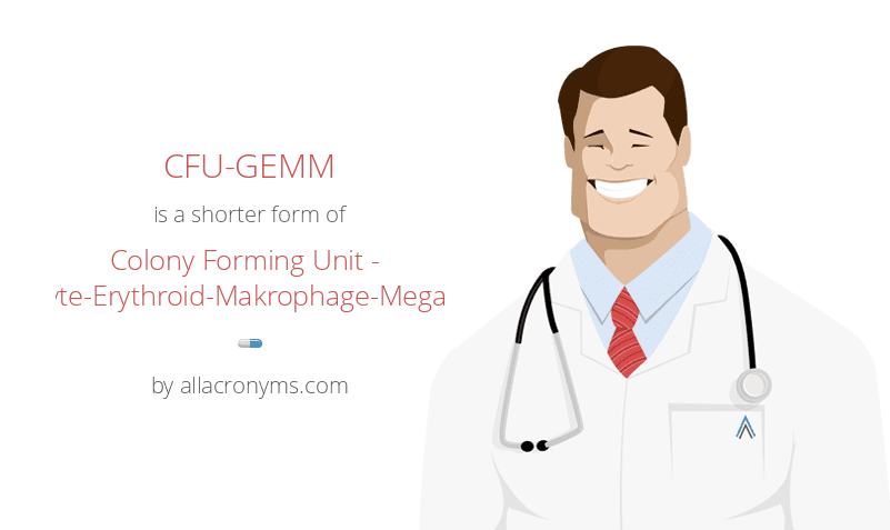 CFU-GEMM is a shorter form of Colony Forming Unit - Granulocyte-Erythroid-Makrophage-Megakaryocyte
