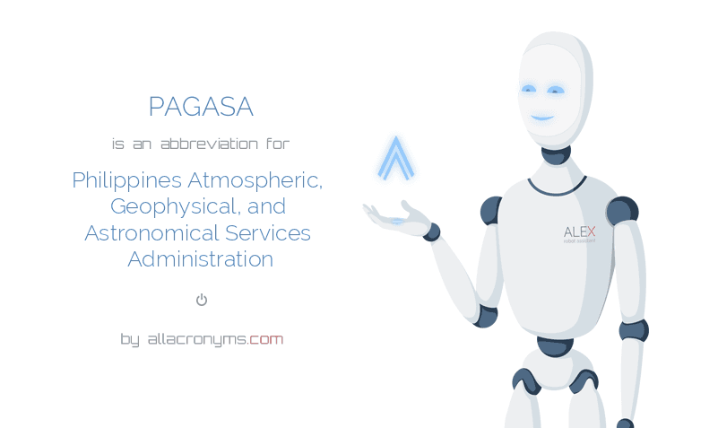 PAGASA is  an  abbreviation  for Philippines Atmospheric, Geophysical, and Astronomical Services Administration