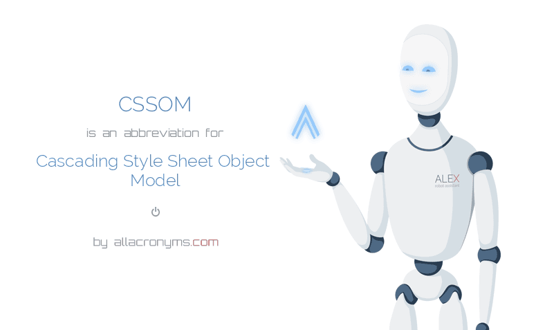 CSSOM is  an  abbreviation  for Cascading Style Sheet Object Model