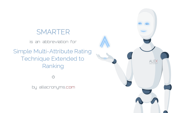 SMARTER is  an  abbreviation  for Simple Multi-Attribute Rating Technique Extended to Ranking