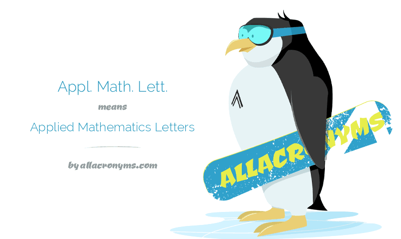 Appl. Math. Lett. means Applied Mathematics Letters
