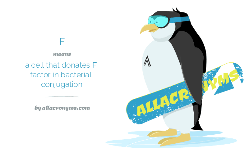 F means a cell that donates F factor in bacterial conjugation