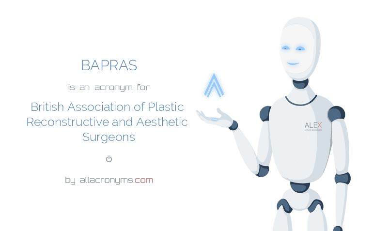 BAPRAS is  an  acronym  for British Association of Plastic Reconstructive and Aesthetic Surgeons