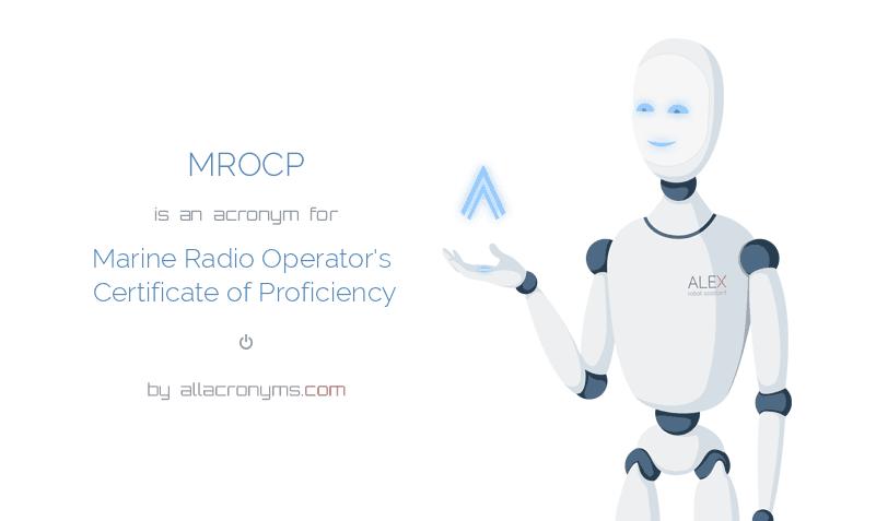 MROCP - Marine Radio Operator's Certificate of Proficiency