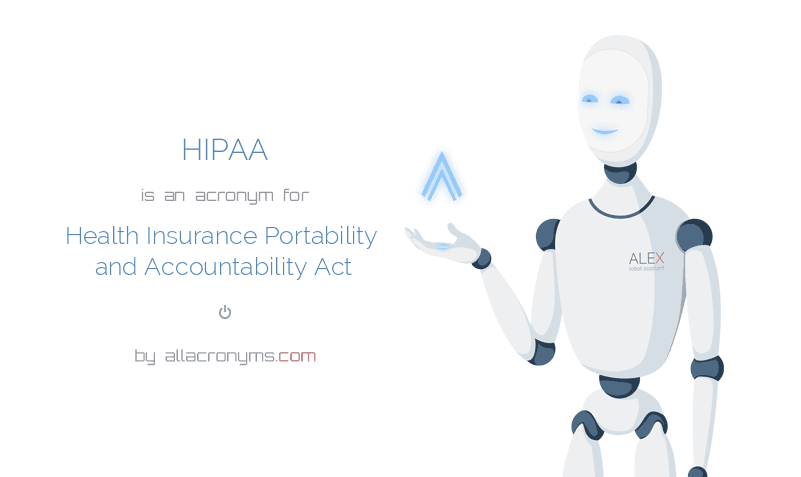 HIPAA is  an  acronym  for Health Insurance Portability and Accountability Act