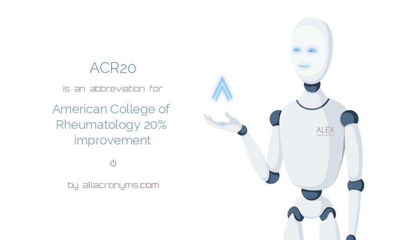 ACR20 - American College of Rheumatology 20% improvement